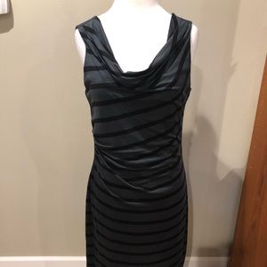 Loft Ann Taylor Dress size M Black and Gray Stripe